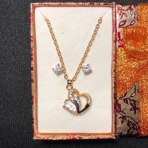 Jewelry - Heart Charm Necklace & Earrings Set